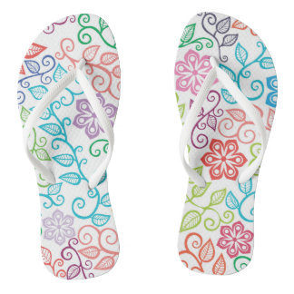 Bright and Cheerful Botanical Watercolor Flip Flop