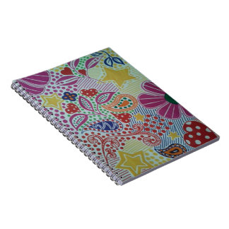 Bright and Cheery Colour Burst Doodled Design Notebooks