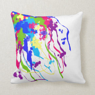 Bright and Colorful Abstract Ink Splatter Pillow