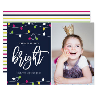 Bright and Colorful Christmas Lights Holiday Photo Card