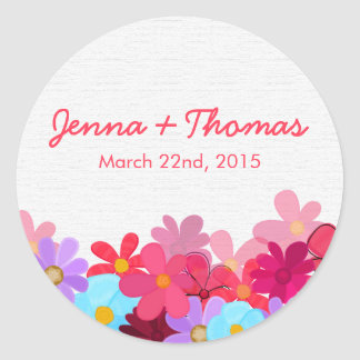 Bright and Colorful Floral Wedding Stickers