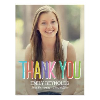 Bright and Colorful Graduation Thank You Card Postcard