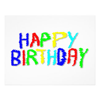 Bright and Colorful. Happy Birthday. 21.5 Cm X 28 Cm Flyer