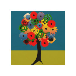Bright and Colorful Mechanical Gear Tree Wood Canvases