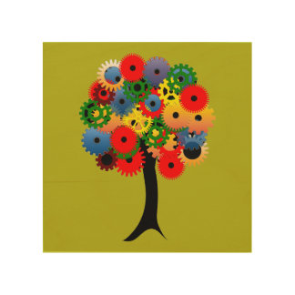 Bright and Colorful Mechanical Gear Tree Wood Canvas