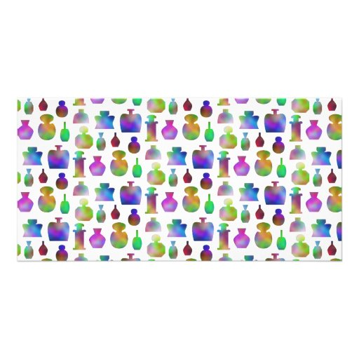 Bright and Colorful Perfume Bottles Pattern. Custom Photo Card