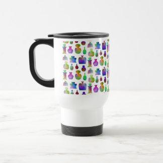 Bright and Colorful Perfume Bottles Pattern. Travel Mug