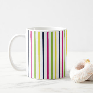 Bright and Colorful Pinstripes Pattern Coffee Mug