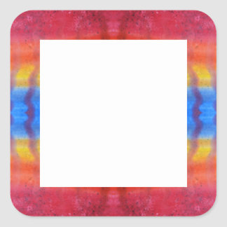 Bright and Colorful. Red, Blue and Yellow Pattern. Square Sticker
