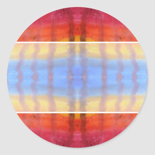 Bright and Colorful. Red, Blue and Yellow Pattern. Round Sticker