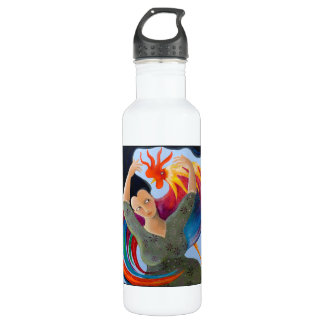 Bright and Colorful Rooster, and Woman. 710 Ml Water Bottle