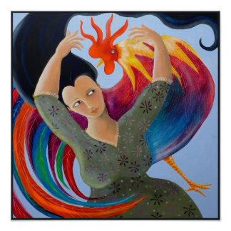 Bright and Colorful Rooster, and Woman. Poster