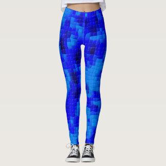 Bright and Dark Blue Mosaic Leggings