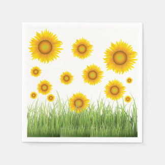 Bright and Elegant Sunflower Graphic Design Disposable Napkin