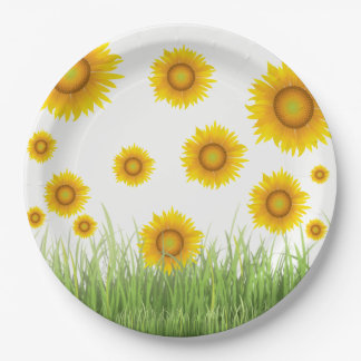 Bright and Elegant Sunflower Graphic Design Paper Plate