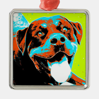 Bright and Fun Rottweiler Portrait Christmas Ornament