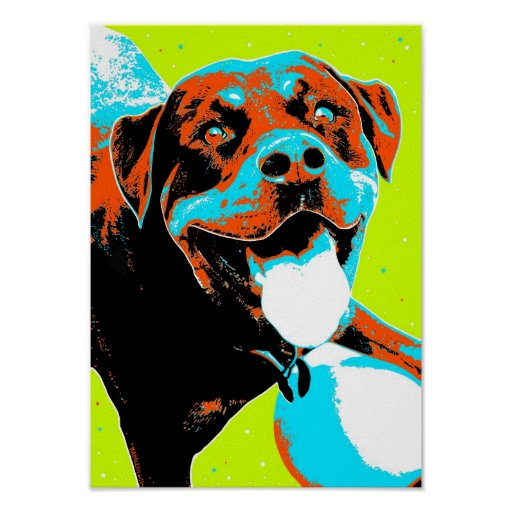 Bright and Fun Rottweiler Portrait Poster