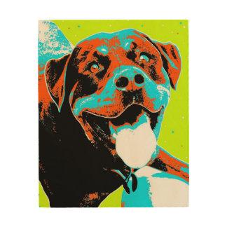 Bright and Fun Rottweiler Portrait Wood Print