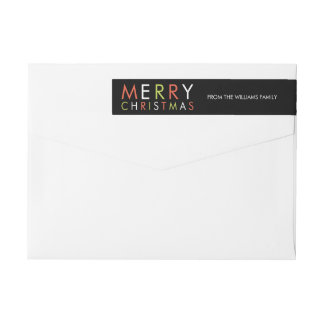 Bright and Merry Christmas Return Address -black Wrap Around Label