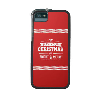 Bright and Merry Red Christmas Greeting iPhone 5 Cover
