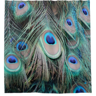 Bright And Shiny Peacock Eyes Shower Curtain