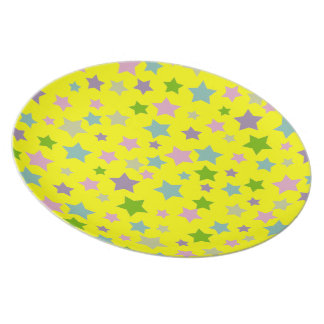 Bright and Vibrant stars pattern on yellow Plate