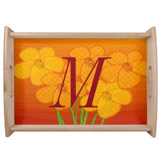 Bright Anemone Collage Monogram Serving Tray