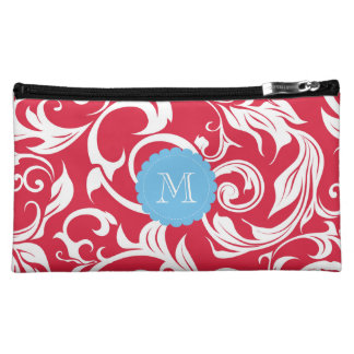 Bright Apple Red Floral Scroll Blue Monogram Makeup Bag