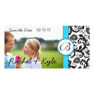Bright Aqua Black Damask Save the Date Your Photo Card