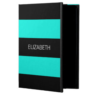 Bright Aqua Black Horiz Preppy Stripe #3 Monogram Powis iPad Air 2 Case