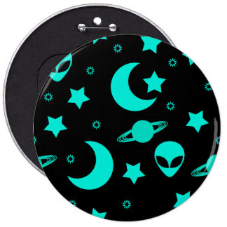 Bright Aqua Blue Alien Heads in Outer Space 6 Cm Round Badge