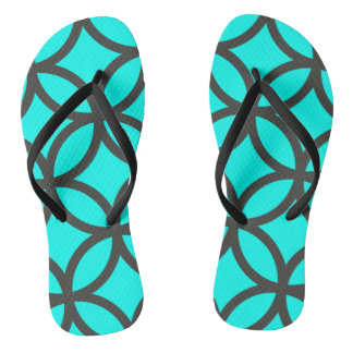 Bright Aqua Blue Circle Pattern Flip Flops