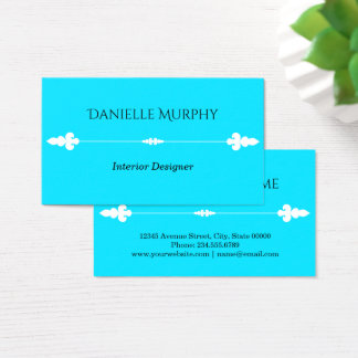 Bright Aqua Blue Design Business Card