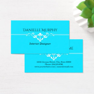 Bright Aqua Blue Designer Business Card