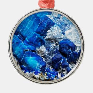 Bright Aqua Blue Geode Mineral Stone Christmas Ornament