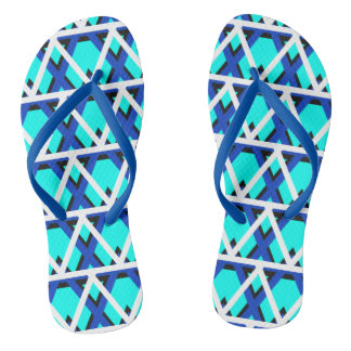 Bright Aqua Blue Geometric Flip Flops