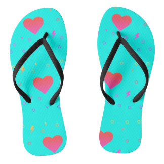 Bright Aqua Blue Heart Flip Flops