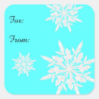 Bright Aqua Blue Ice Crystals Gift Tag Sticker