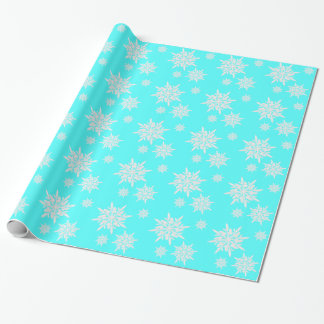 Bright Aqua Blue Ice Crystals Gift Wrap