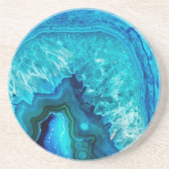 Bright Aqua Blue Turquoise Geode Mineral Stone Coaster