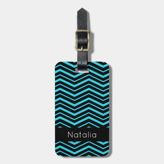 Bright Aqua Blue Zig Zag Striped Geometric Pattern Bag Tag