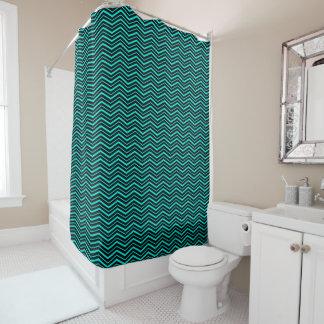 Bright Aqua Blue Zig Zag Striped Geometric Pattern Shower Curtain