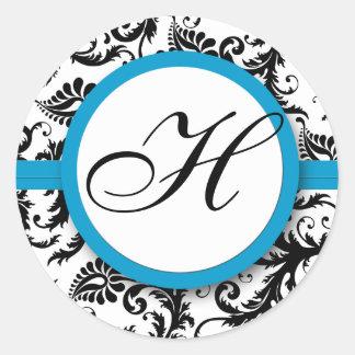 Bright Aqua Damask Monogram Wedding Stickers