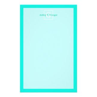 Bright Aqua Framed Initial Monogram Stationery Design