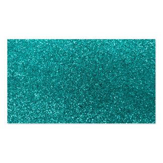 Bright aqua glitter business card template