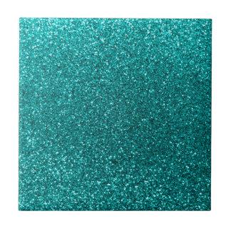 Bright aqua glitter small square tile