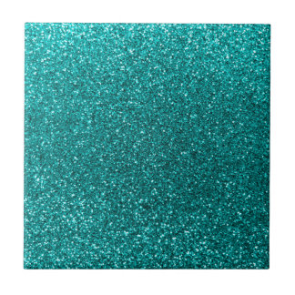 Bright aqua glitter tile