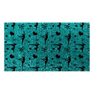 Bright aqua gymnastics glitter pattern business card templates