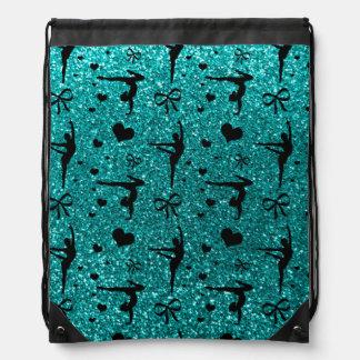 Bright aqua gymnastics glitter pattern drawstring bag