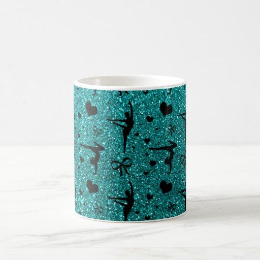 Bright aqua gymnastics glitter pattern coffee mug